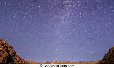 Milky Way is far off. Time Lapse . UltraHD (4K)