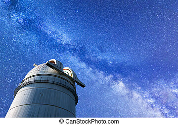 Milky Way landscape and observatory - A view of the stars of...