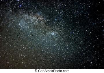 Milky Way ,Long exposure photograph.