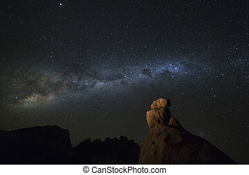 Milky way over a rock formation.