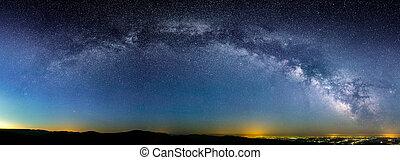 Milky Way over city lights