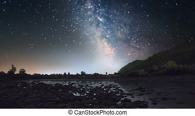 Milky Way over mountain river