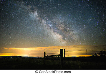 Milky Way Over Rural Landscape