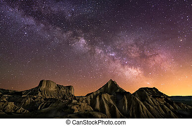 Milky Way over the desert of Bardenas, Spain