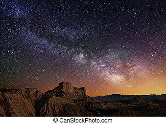 Milky Way over the desert of Bardenas, Spain