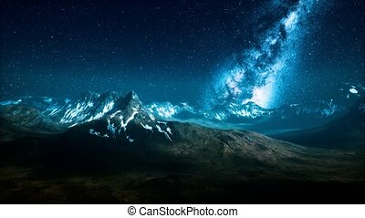 Milky Way over the mountain peaks