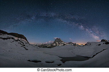 milky way over the mountains of spain