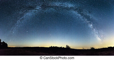 Milky Way panorama over a field - Panoramic view of Milky...
