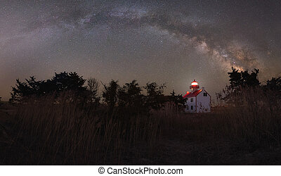 Milky Way Panorama over a Lighthouse