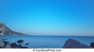 Milky Way rises. Sunset - Night - Sunrise. Cape Sarich (Golden), the southernmost point of the Crimea. Time Lapse