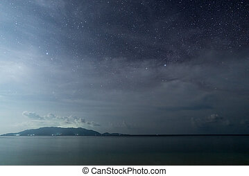 Milky Way starry sky glowing stars in the night on tropical ...