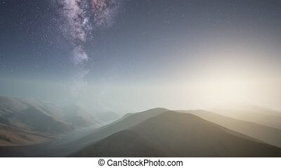 Milky Way stars above desert mountains