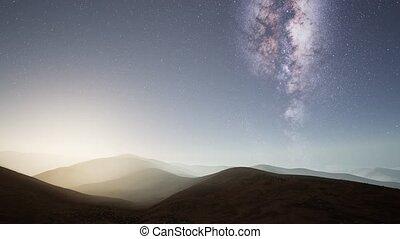 Milky Way stars above desert mountains