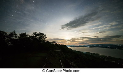 Milky way time lapse appearing after the moon set, at a National Park in Khon Kaen province, Thailand