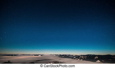 Milky way time lapse in Carpathian Mountains - Starry sky...