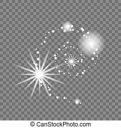 Milky Way vector illustration. Galaxy abstract shape with spiral arms. Transparent glowing shape.