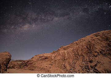 Milkyway visible over the desert - The Milky Way visible...