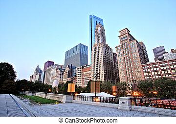 millénaire, horizon, vue, parc, chicago