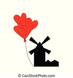 mill and balloons of hearts on a white background