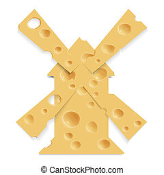 mill and cheese - Realistic slices of cheese in the form of...