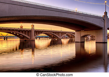 Mill Avenue Bridges in Phoenix - Tempe Town Lake with Mill...