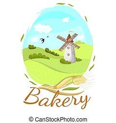 mill., boulangerie, vecteur, graphics., logo
