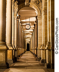 Mill colonnade at night - Mill colonnade with clock in...
