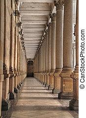 Mill colonnade (Mlynska kolonada) in Karlovy Vary, Czech...