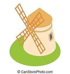 Mill icon, cartoon style