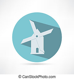 Mill icon isolated on white background. Vector illustration.