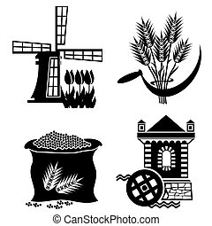 mill icons - set of images of grain processing. Vector...