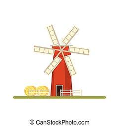 Mill isolated on white background. Flat illustration.