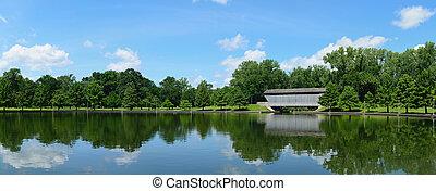 Historic bridge and pond at Mill Race Park, Columbus, Indiana.