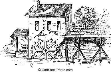Mill race, vintage engraving. - Mill race, vintage engraved...