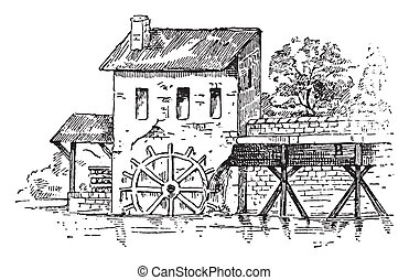 Mill race, vintage engraved illustration. Dictionary of words and things - Larive and Fleury - 1895.