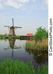 Mill - scenic Dutch landscape with rivers and...