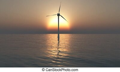 mill - energy concept, sunset and wind turbine
