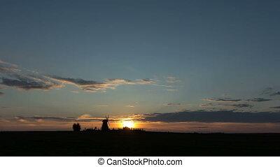 mill., sur, coucher soleil, chronocinématographie