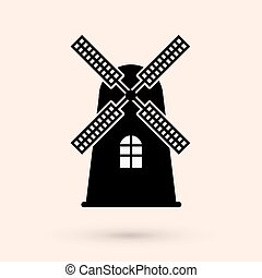 Mill vector design - Windmill silhouette or sign isolated on...