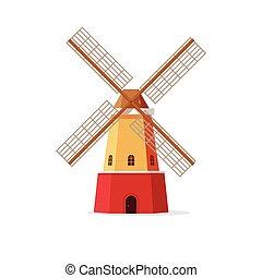 Mill vector illustration, flat cartoon windmill isolated