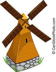 Vector Image mill, over white. EPS 8, AI, JPEG