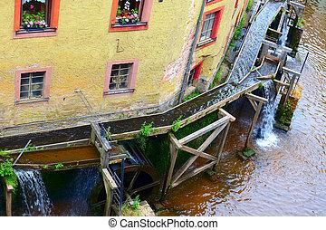 Mill wheels on stream Leuk ( too Leukbach ) in Saarburg, Rheinland-Pfalz, Germany, summer