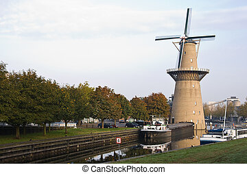 Mill with ships