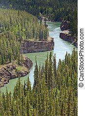 millas, cañón, de, yukon, río, cerca, whitehorse, canadá
