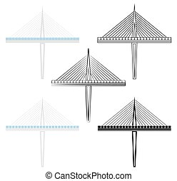 Millau Bridge section colored and outline only.