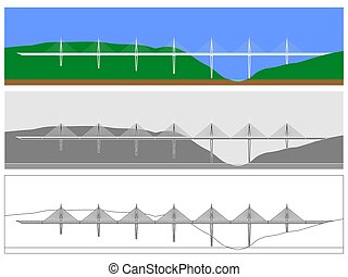 Millau Bridge skyline colored and outline only. Symbol of...