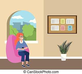 millenario, sala d'attesa, studente, seduta