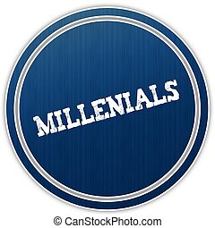MILLENIALS distressed text on blue round badge.