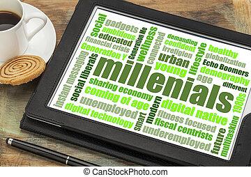 millenials, woord, wolk, op, tablet