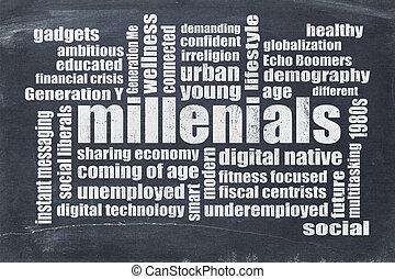 millenials word cloud on blackboard